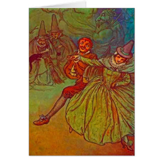 Couple Dancing with Witches Watching Card