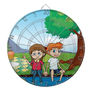 Couple dating in the middle of the woods dartboard