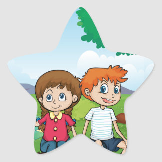 Couple dating in the middle of the woods star sticker