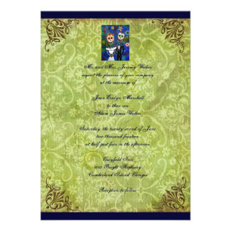 Couple Day of the Dead Wedding Invitation Invites
