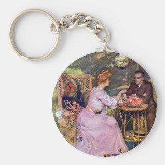 Couple Dining Al Fresco Basic Round Button Keychain