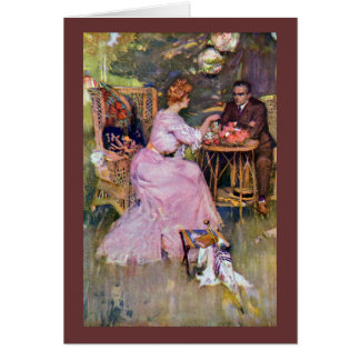 Couple Dining Al Fresco Greeting Card