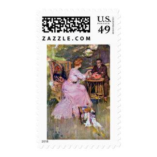 Couple Dining Al Fresco Stamp