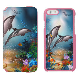 Couple Dolphins Playing Into The Ocean iPhone 6/6s Wallet Case