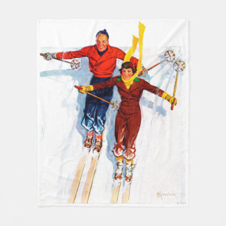 Couple Downhill Skiing Fleece Blanket