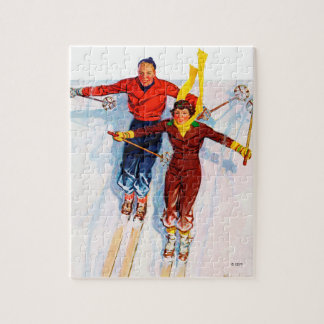 Couple Downhill Skiing Jigsaw Puzzle