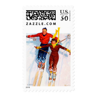 Couple Downhill Skiing Postage