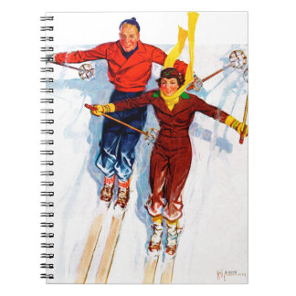 Couple Downhill Skiing Spiral Notebook