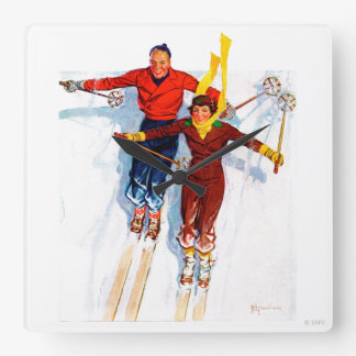 Couple Downhill Skiing Square Wall Clock
