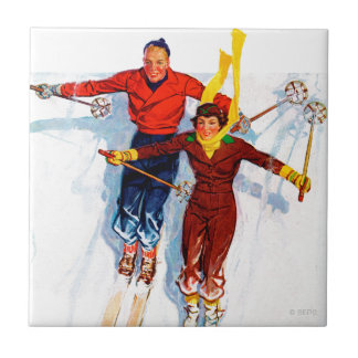 Couple Downhill Skiing Tile