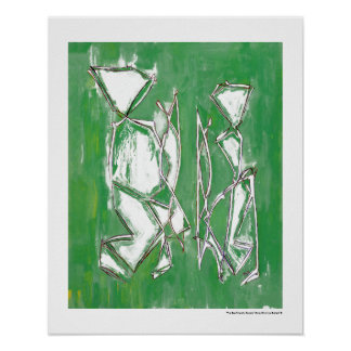 Couple Eco Friendly Green Modern Art by MC Belkadi Poster