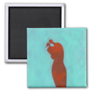 Couple Embracing 2 Inch Square Magnet