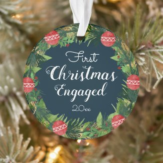 Couple Engaged First Christmas Holiday Wreath Ornament