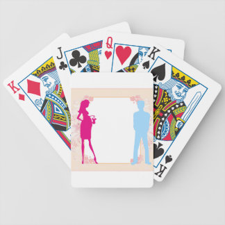 couple expecting baby bicycle playing cards