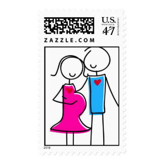 Couple Expecting Baby Girl Postage