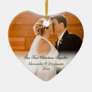 Couple First Christmas Together Keepsake Photo Double-Sided Heart Ceramic Christmas Ornament