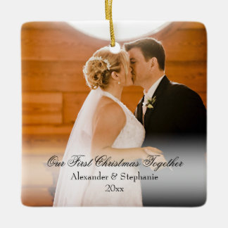 Couple First Christmas Together Square Photo Ceramic Ornament