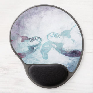 Couple Flying Green Sea Turtles | Gel Mousepad