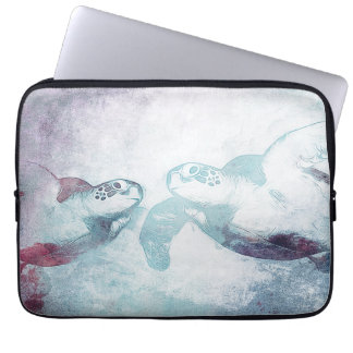 Couple Flying Green Sea Turtles | Laptop Sleeve