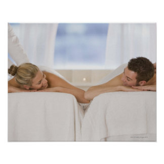 Couple getting massages poster