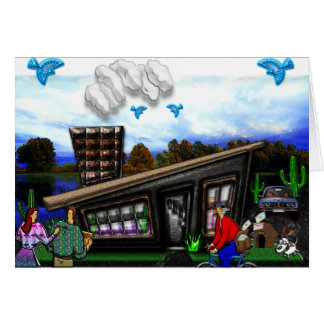 Couple Going Home Rover Jumping Print Card