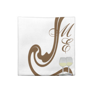 Couple Gold Cocktail Monogrammed Champagne Glasses Napkin