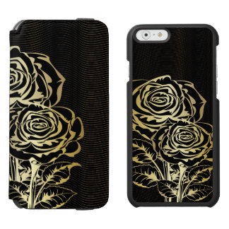 Couple Golden Black  Roses iPhone 6/6s Wallet Case