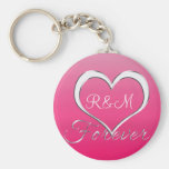 Couple Heart Initials Monogram Basic Round Button Keychain