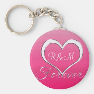 Couple Heart Initials Monogram Keychain