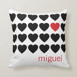 Couple Hearts Pattern Black Red Personalized Name Throw Pillow