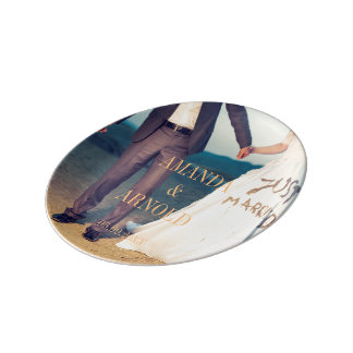 Couple Holding Hands Photo Wedding Porcelain Plate