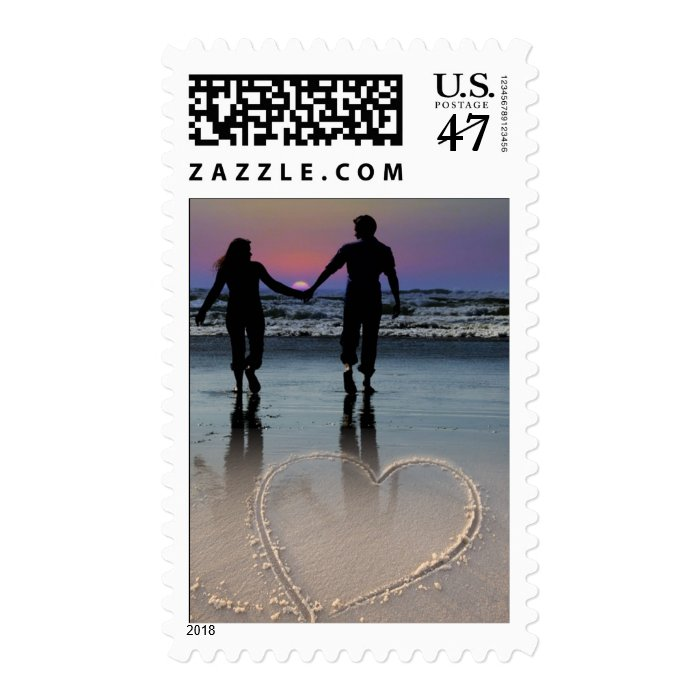 Couple Holding Hands Walking into Beach Sunset Postage Stamp