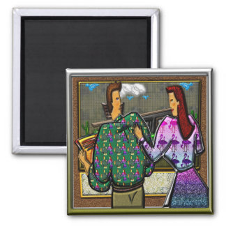 Couple Holding Plaque II Square Magnet
