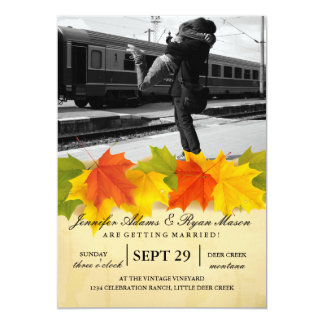 Couple hugging at the train station/fall theme card