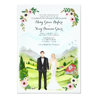 Couple Illustrated Portrait Wedding Landscape Card