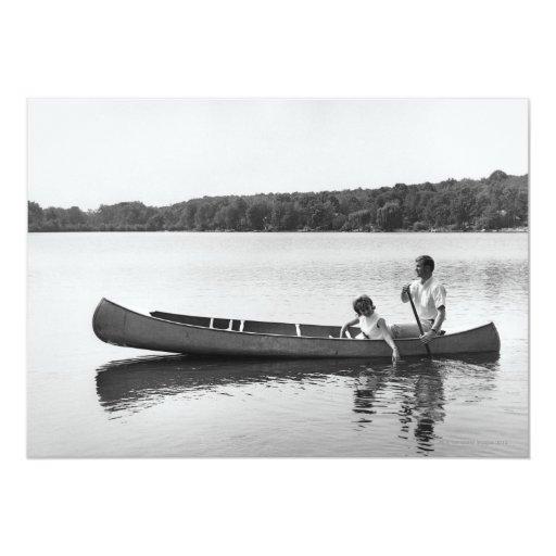 Couple in a Canoe 5x7 Paper Invitation Card