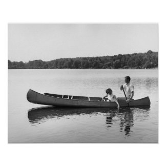 Couple in a Canoe Poster