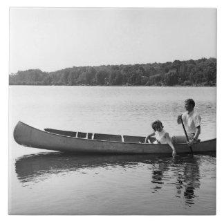 Couple in a Canoe Ceramic Tile