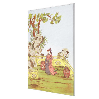 Couple in a Chinese garden, from 'Ornaments of Chi Canvas Print