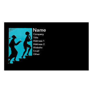 Couple in black Silhouette on Spooky Steps Business Card