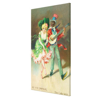 Couple in Costume Doing the Cake-Walk Canvas Print