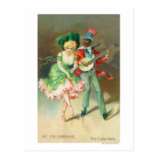 Couple in Costume Doing the Cake-Walk Postcard