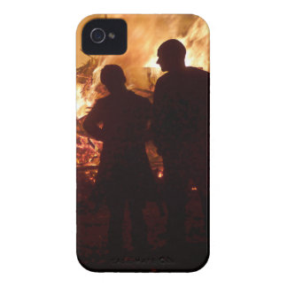 Couple in front of campfire iPhone 4 Case-Mate cases