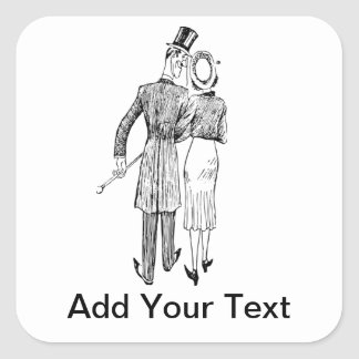 Couple in Love - Add Your Own Text Square Sticker
