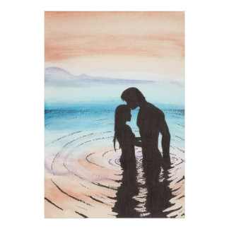 Couple In Love At Sunset Print