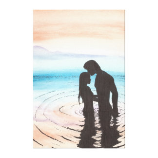 Couple in Love at Sunset Stretched Canvas Print