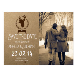 Couple in love at the park winter/deer theme postcard