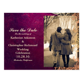 Couple in love at the park winter/purple vintage postcard