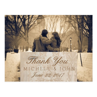 Couple in love at the park winter/Thank You Postcard