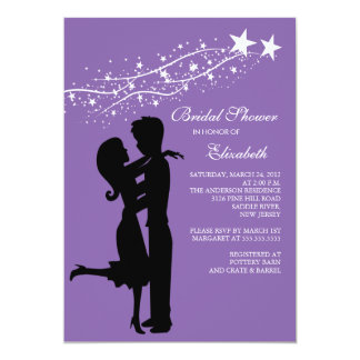 Couple in Love Bridal Shower Invitation Purple